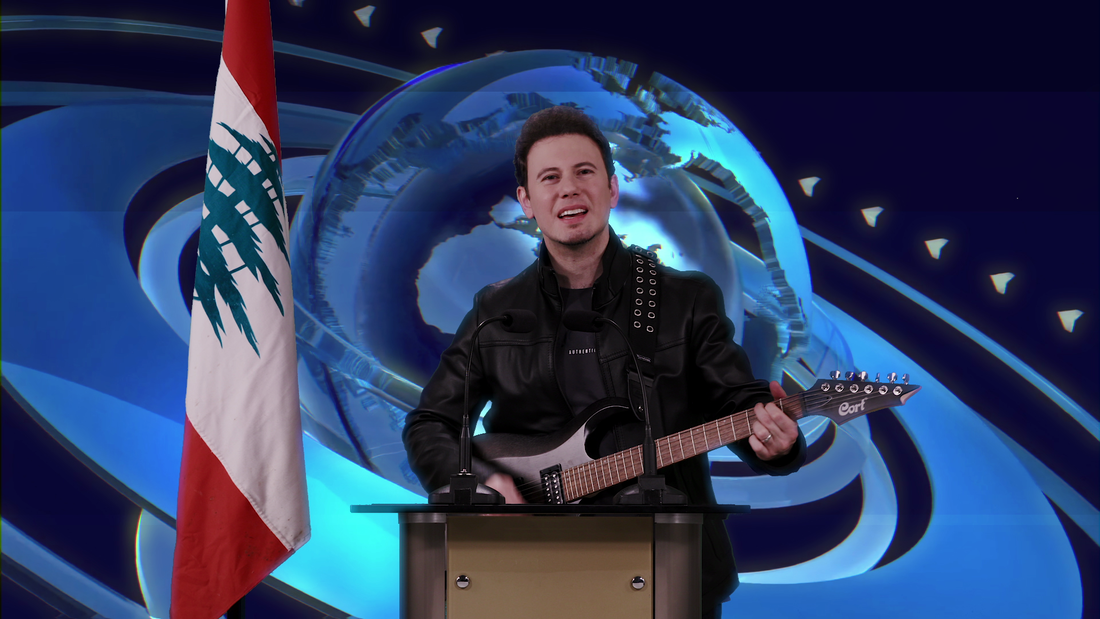 A Lebanese singer IJK singing the Lebanese revolutionPicture